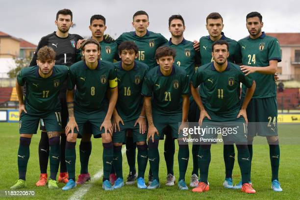Team of of Italy U20 line up during the 8 Nations Tournament match between Italy U20 and Switzerland U20 at Stadio Vittorio Pozzo on November 18,...