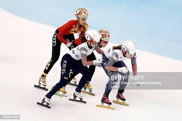 Team of of South Korea leads during Women's 3000m Relay semifinal on day one of the ISU World Cup Short Track speed skating event at the Oriental...