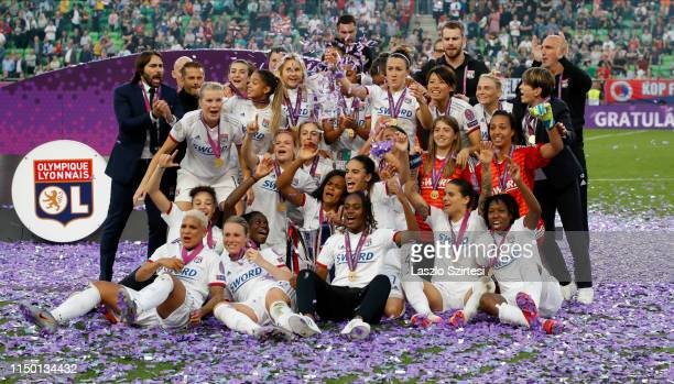 Team of Olympique Lyonnais celebrate the victory during the UEFA Women's Champions League Final match between Olympique Lyonnais and FC Barcelona at...