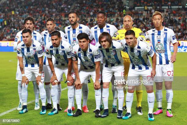Team of Pachuca pose on during the 16th round match between Pachuca and Queretaro as part of the Torneo Apertura 2017 Liga at Hidalgo Stadium on...