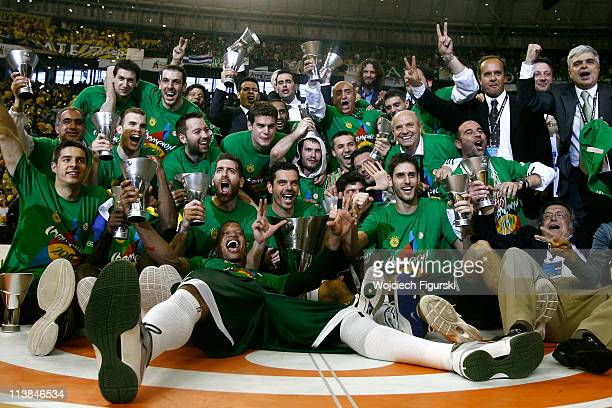 Team of Panathinaikos Athens celebrates victory with the trophy after the Final Game of Turkish Airlines Euroleague Final Four between Maccabi...
