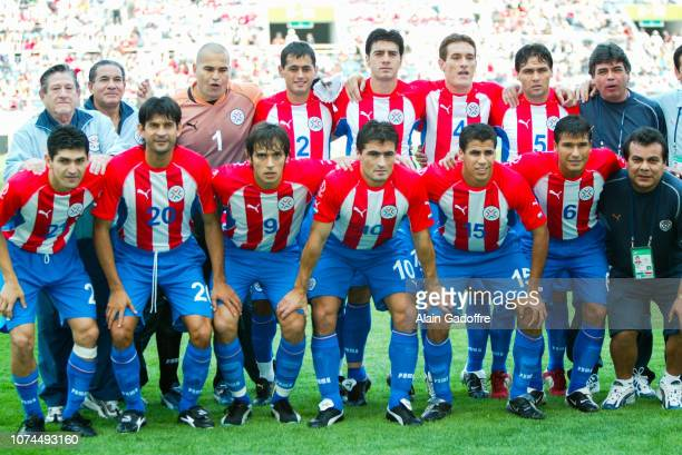 Team of Paraguay during the FIFA World Cup match between Germany and Paraguay on June 15 2002 in Jeju Stadium South Korea