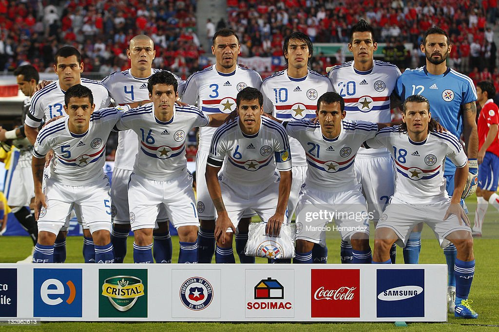 Team of Paraguay pose for a photo, during the match between Chile and Paraguay as part of the South American Qualifiers for Brazil 2014 FIFA World Cup on November 15, 2011 in Santiago, Chile.