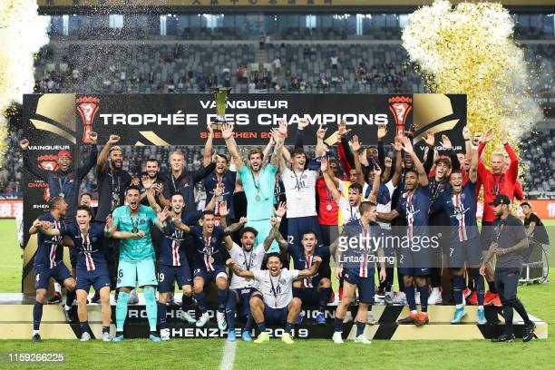 Team of Paris SaintGermain celebrates the victory with the trophy during the 2019 Trophee des Champions between Paris saintGermain and Stade Rennais...