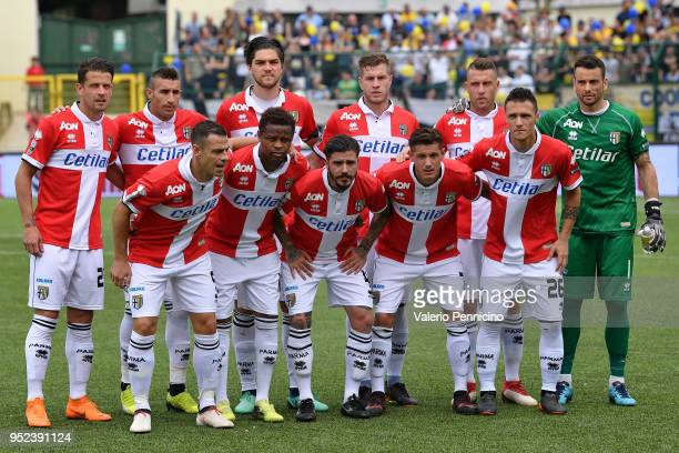 Team of Parma Calcio line up during the serie B match between Pro Vercelli FC and Parma Calcio at Stadio Silvio Piola on April 28 2018 in Vercelli...