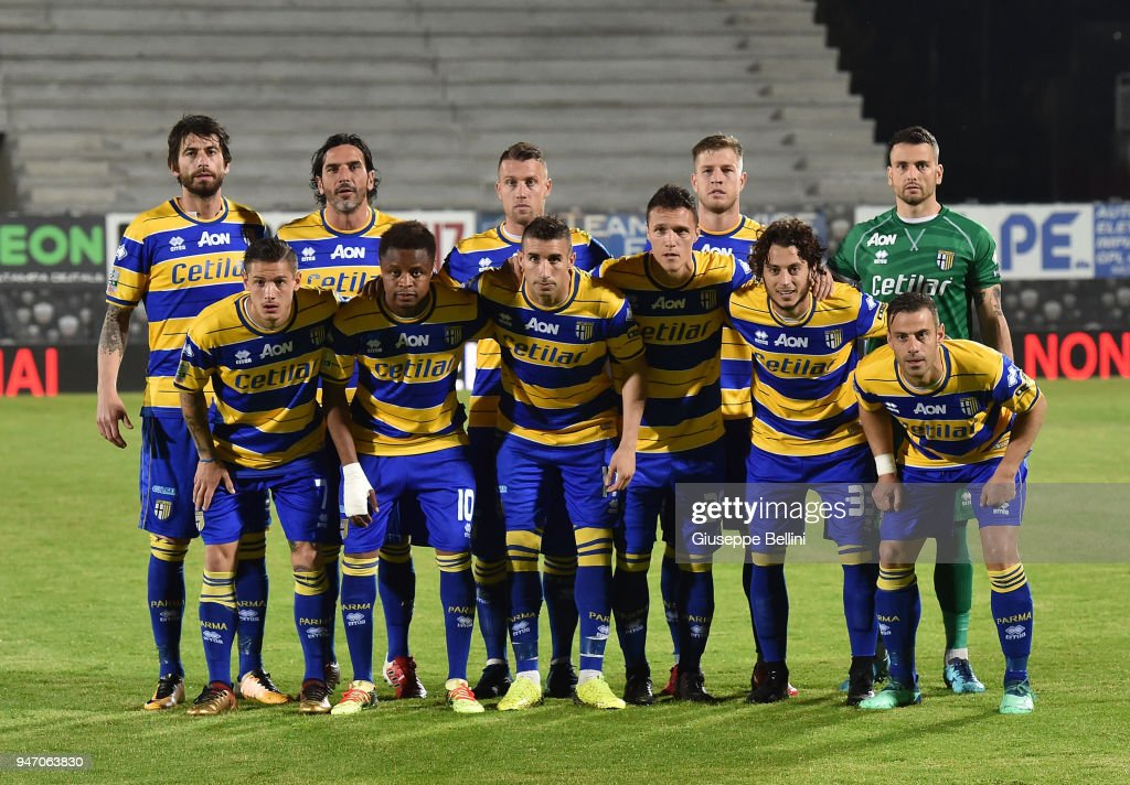 Team of Parma Calcio prior the match between Ascoli Picchio and Parma Calcio at Stadio Cino e Lillo Del Duca on April 16, 2018 in Ascoli Piceno, Italy.