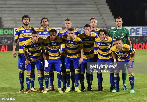 Team of Parma Calcio prior the match between Ascoli Picchio and Parma Calcio at Stadio Cino e Lillo Del Duca on April 16 2018 in Ascoli Piceno Italy