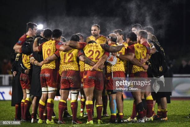 Team of Perpignan dejected during the Pro D2 match between Massy and Perpignan on March 16 2018 in Massy France