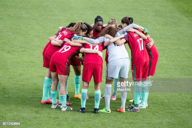 Team of Portugal gather in a circle prior the UEFA Women's Euro 2017 Group D match between Scotland v Portugal at Sparta Stadion on July 23 2017 in...