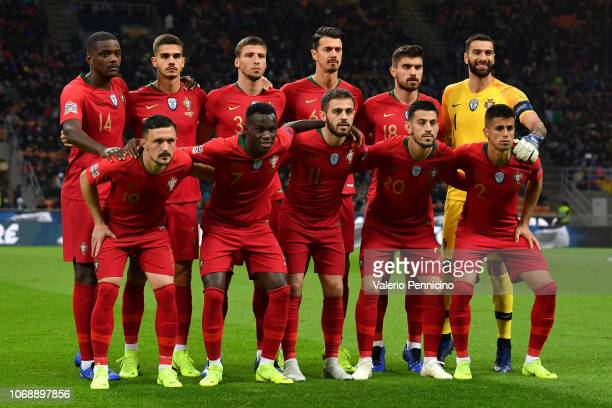 Team of Portugal lines up prior to the UEFA Nations League A group three match between Italy and Portugal at Stadio Giuseppe Meazza on November 17...