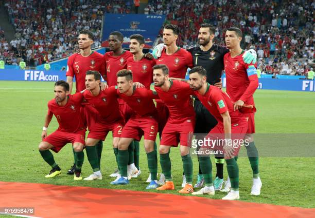 Team of Portugal poses before the 2018 FIFA World Cup Russia group B match between Portugal and Spain at Fisht Stadium on June 15 2018 in Sochi Russia
