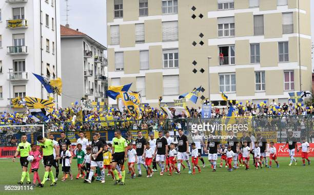Team of Pro Vercelli FC and Parma Calcio enter on the pitch during the serie B match between Pro Vercelli FC and Parma Calcio at Stadio Silvio Piola...