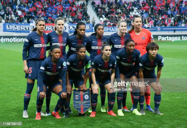 Team of PSG Women poses before the UEFA Women's Champions League Quarter Final Second Leg match between Paris SaintGermain Women and Chelsea Women at...