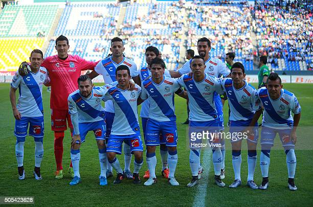 Team of Puebla pose during the 2nd round match between Puebla and Monterrey as part of the Clausura 2016 Liga MX at Cuauhtemoc Stadium on January 17...