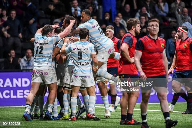 Team of Racing celebrates a try during the Champions Cup match between Racing 92 and Munster at U Arena on January 14 2018 in Nanterre France