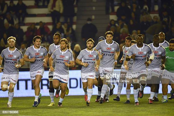 Team of Racing during the rugby Top 14 match between RC Toulon and Racing 92 at Felix Mayol Stadium on January 1 2017 in Toulon France