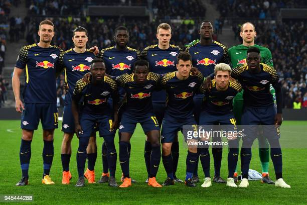 Team of RB Leipzig line up during the UEFA Europa League quarter final leg two match between Olympique Marseille and RB Leipzig at Stade Velodrome on...