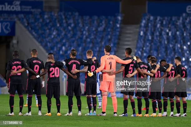 Team of Real Madrid during minute of silence during the La Liga Santader match between Real Sociedad and Real Madrid at Estadio Anoeta on September...
