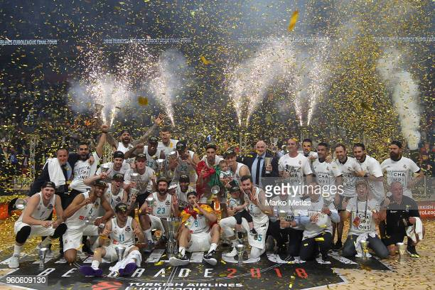 Team of Real Madrid during the 2018 Turkish Airlines EuroLeague F4 Champion Trophy Ceremony at Stark Arena on May 20, 2018 in Belgrade, Serbia.