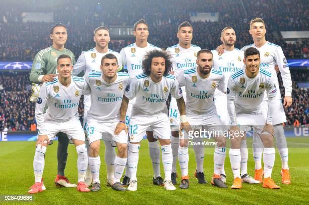 Team of Real Madrid line up Keylor Navas Sergio Ramos Raphael Varane Casemiro Karim Benzema and Cristiano Ronaldo Lucas Vazquez Mateo Kovacic Marcelo...