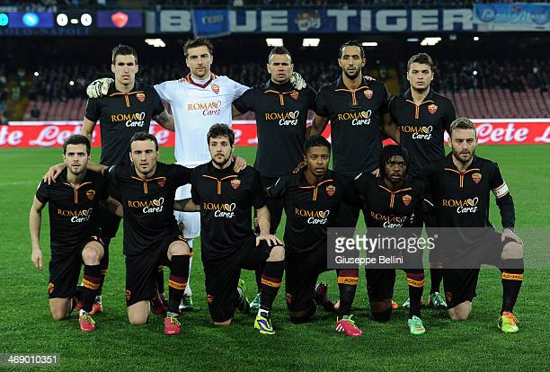 Team of Roma before the TIM Cup match between SSC Napoli and AS Roma at Stadio San Paolo on February 12 2014 in Naples Italy