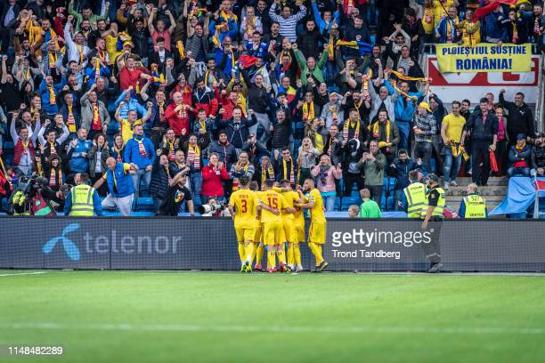 Team of Romania celebrates goal during UEFA Euro 2020 Qualifier Norway v Romania at Ullevaal Stadion on June 7 2019 in Oslo Norway