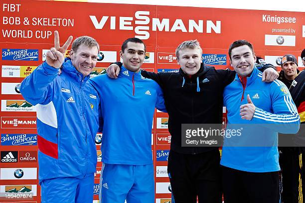 Team of Russia 1 Alexander Zubkov Alexey Negodaylo Dmitry Trunenkov and Maxim Mokrousov celebrate their win on January 13 2013 in Koenigssee Germany
