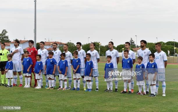 Team of San Marino U20 prior to the International Friendly match between Italy U20 and San Marino U20 on August 8 2018 in Misano Adriatico Italy