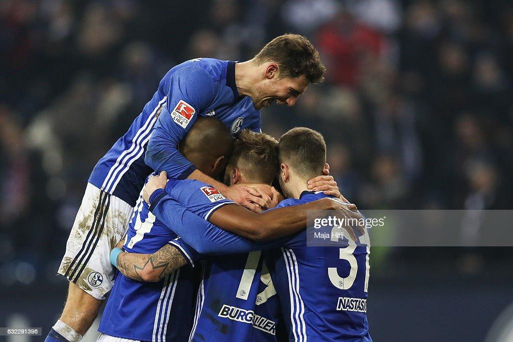 Team of Schalke celebrates after winning the Bundesliga match with 1-0 between FC Schalke 04 and FC Ingolstadt 04 at Veltins-Arena on January 21, 2017 in Gelsenkirchen, Germany.