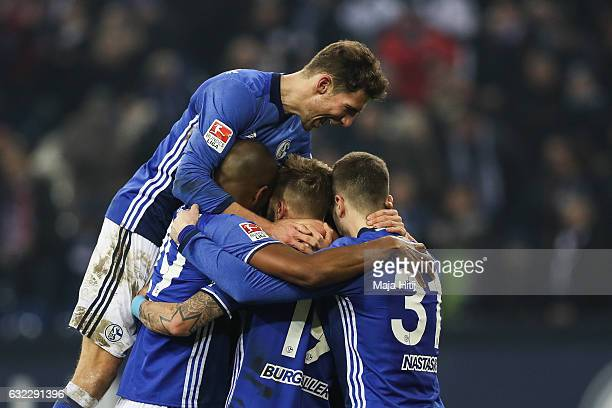 Team of Schalke celebrates after winning the Bundesliga match with 10 between FC Schalke 04 and FC Ingolstadt 04 at VeltinsArena on January 21 2017...