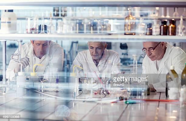 Team der Wissenschaftler arbeiten mit neuen wissenschaftlichen Forschung im Labor.
