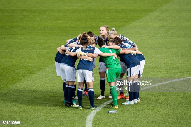 Team of Scotland gather in a circle prior the UEFA Women's Euro 2017 Group D match between Scotland v Portugal at Sparta Stadion on July 23 2017 in...