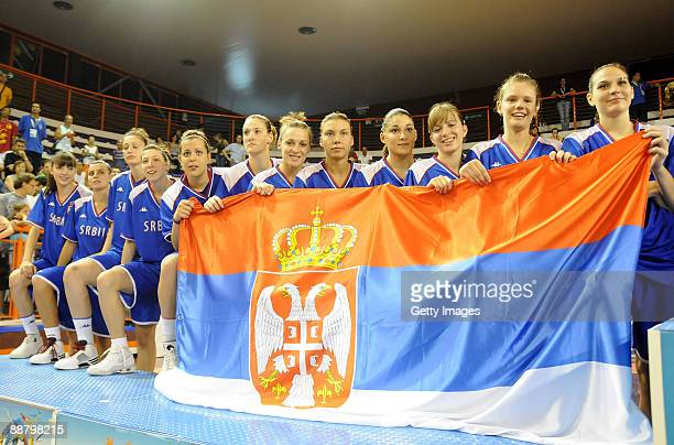 Team of Serbia celebrates the silver medal on the podium of the women's basketball game on day 6 during the XVI Mediterranean Games at the...