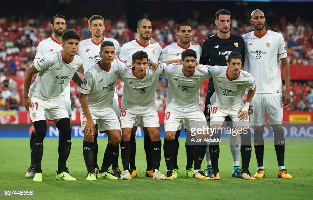 Team of Sevilla FC prior to the UEFA Champions League Qualifying PlayOffs round second leg match between Sevilla FC and Istanbul Basaksehir FK at...