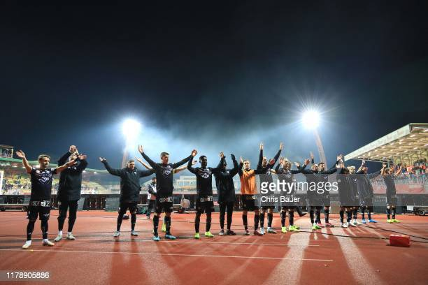 Team of SK Sturm Graz celebrates with their fans after winning the Uniqa OeFB Cup match between SV Kapfenberg and SK Puntigamer Sturm Graz at Franz...