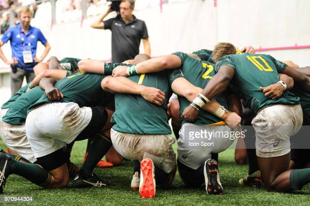 Team of South Africa during the match between South Africa and Spain at the HSBC Paris Sevens stage of the Rugby Sevens World Series at Stade Jean...