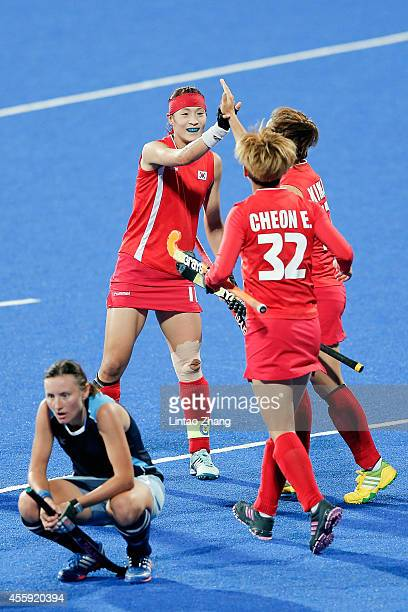 Team of South Korea celebrate after win over the game during the Hockey Women's Pool B match between South Korea and Kazakhstan during day three of...