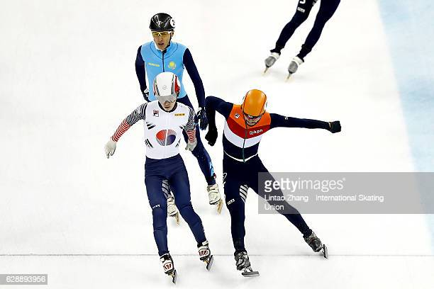Team of South Korea crossing the finish line during men's 3000m Relay semifinal on day one of the ISU World Cup Short Track speed skating event at...