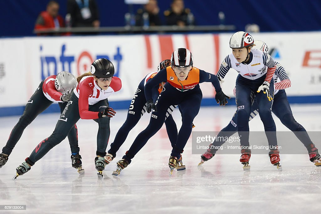 Team of South Korea leads competes in the women's 5000m Relay final on day two of the ISU World Cup Short Track speed skating event at the Oriental Sports Center on December 11, 2016 in Shanghai, China.