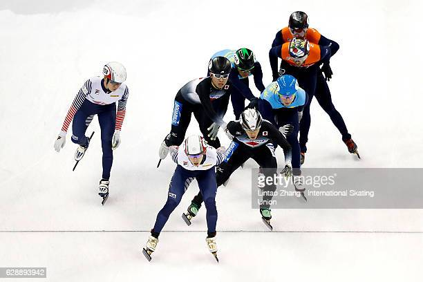 Team of South Korea leads during men's 3000m Relay semifinal on day one of the ISU World Cup Short Track speed skating event at the Oriental Sports...