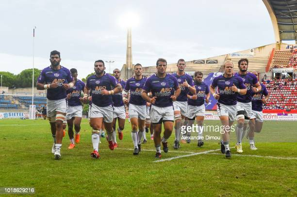 Team of Soyaux during the French Pro D2 match between Beziers and Soyaux Angouleme on August 17 2018 in Beziers France