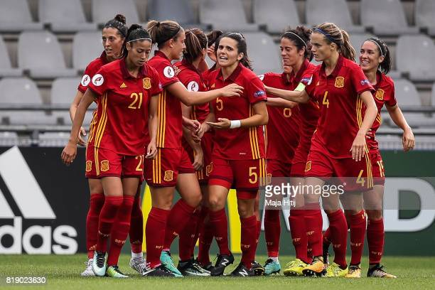 Team of Spain celebrate after scoring second goal during the Group D match between Spain and Portugal during the UEFA Women's Euro 2017 at Stadion De...