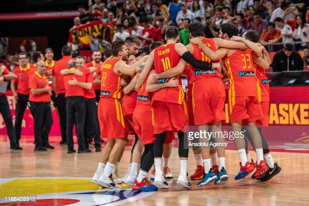 Team of Spain celebrate their victory after winning the FIBA World Cup 2019 match against the Argentina National Team at Beijing Wukesong Sport Arena...