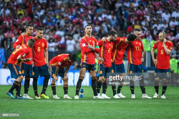 Team of Spain during the FIFA World Cup Round of 26 match between Spain and Russia at Luzhniki Stadium on July 1 2018 in Moscow Russia