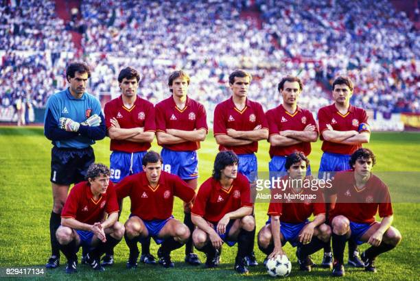 Team of Spain during the UEFA European Championship match between Italy and Spain on June 14 1988 in Frankfurt Germany