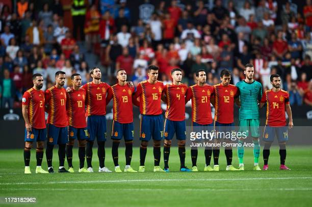 Team of Spain line up prior to the UEFA Euro 2020 qualifier match between Spain and Faroe Islands at Estadio Municipal El Molinon on September 08,...
