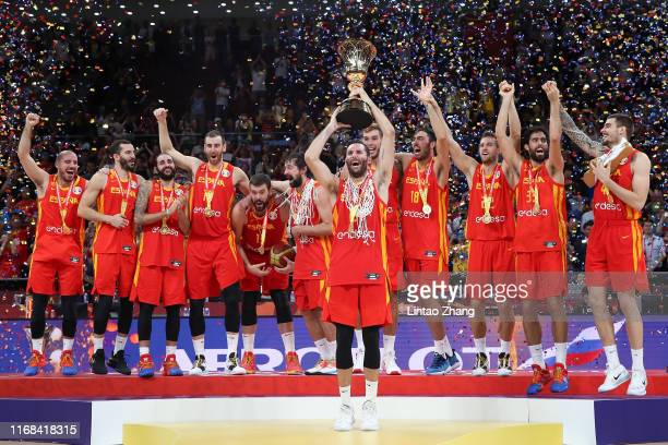 Team of Spain players celebrates after defeating Argentina during the final of 2019 FIBA World Cup match between Argentina and Spain at Beijing...