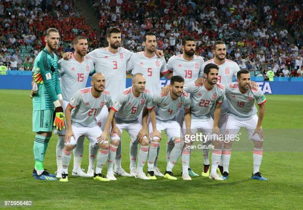 Team of Spain poses before the 2018 FIFA World Cup Russia group B match between Portugal and Spain at Fisht Stadium on June 15 2018 in Sochi Russia