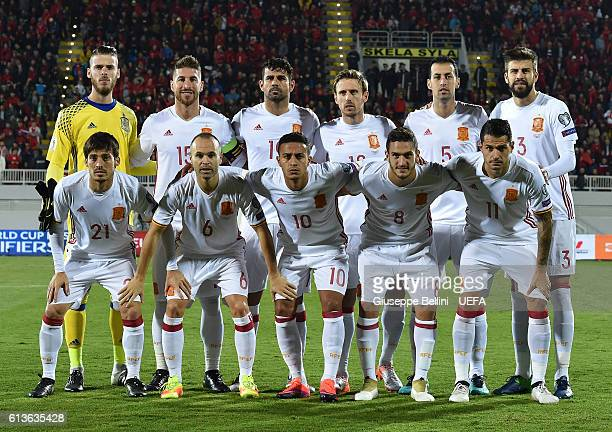 Team of Spain prior the FIFA 2018 World Cup Qualifier between Albania and Spain at Loro Borici Stadium on October 9 2016 in Shkoder Albania