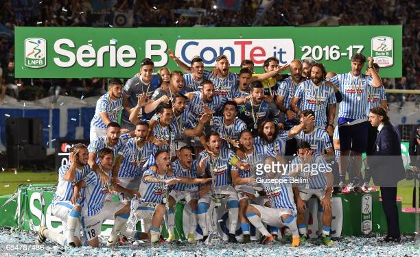 Team of SPAL celebrates promotions in series A after the Serie B match between SPAL and FC Bari at Stadio Paolo Mazza on May 18, 2017 in Ferrara,...